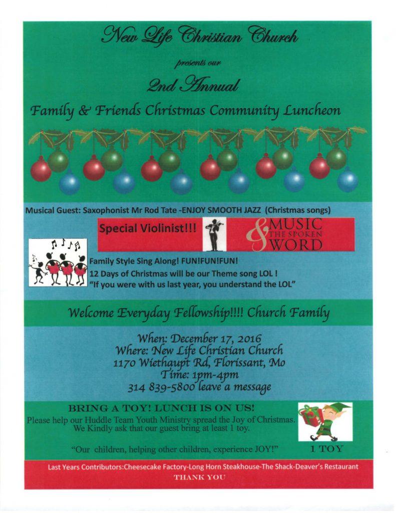 New Life Christian Church Family, Friends & Community Luncheon