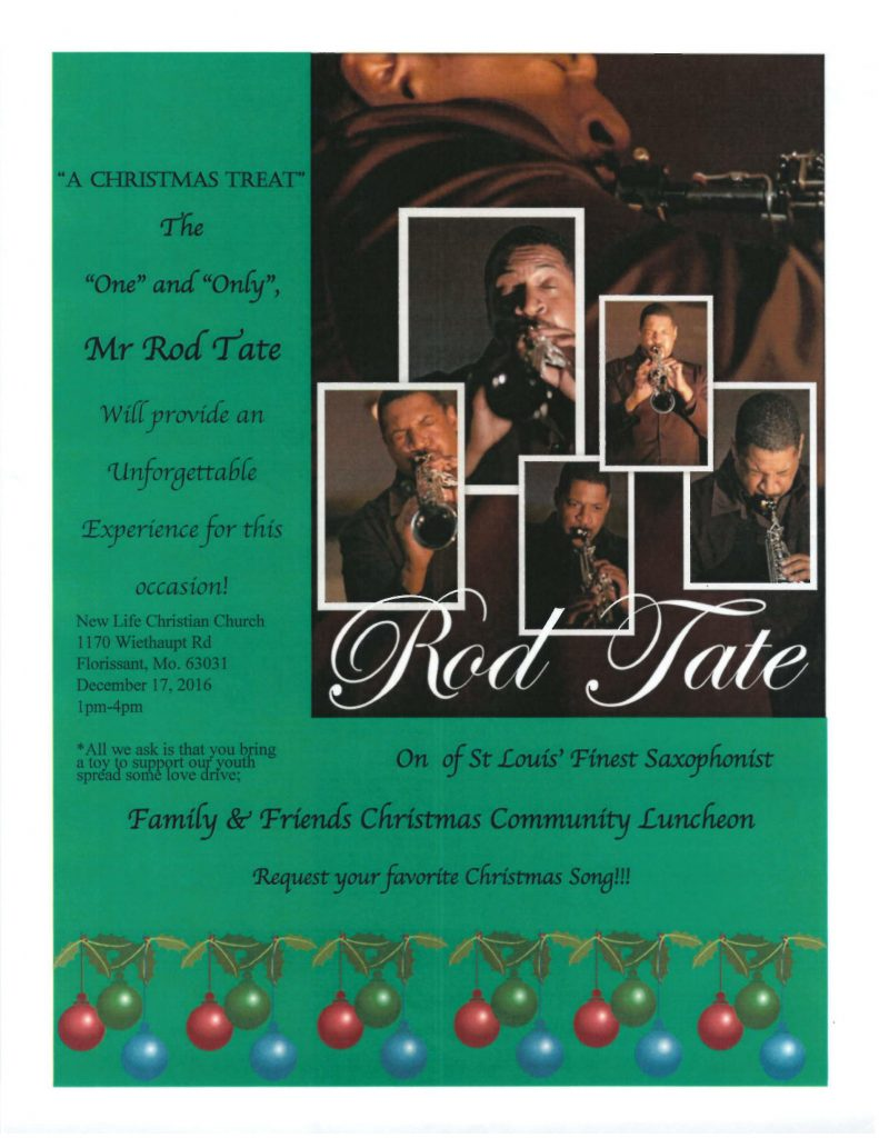 New Life Christian Church Host Ron Tate, Premier St. Louis Saxaphonist
